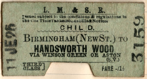 LMS ticket for Handsworth Wood