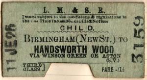 LMS ticket for Handsworth Wood