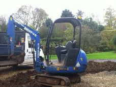 blue mini digger