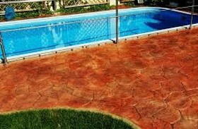 pool surround with printed concrete